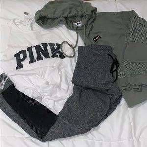 Pink leggings, tank, and cropped hoodie